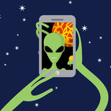 Selfie space. Alien shoots himself on phone against backdrop of vector illustration