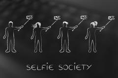 Selfie społeczeństwa ludzie bierze autoportrety ilustracji