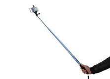 Selfie stick. An Selfie stick with an adjustable clampon a white background royalty free stock photo