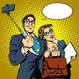 Selfie stick businessman and businesswoman photo Stock Image