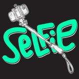 Selfie Stick Design Artistic Cartoon Hand Drawn Sketchy Line Art Style Drawings Illustrations. stock illustration