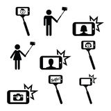 Selfie stick with mobile or cell phone icons set Stock Photo