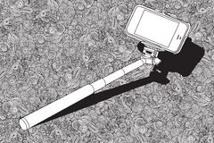 Selfie stick  with mobile phone Stock Photos