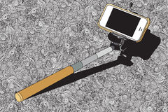 Selfie stick  with mobile phone Stock Image