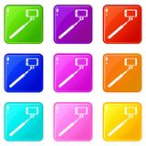Selfie stick and smartphone icons 9 set Royalty Free Stock Photo