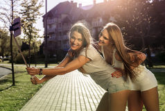 Selfie in the street at summer. Royalty Free Stock Image