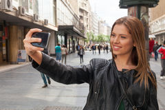 Selfie on the street Stock Images
