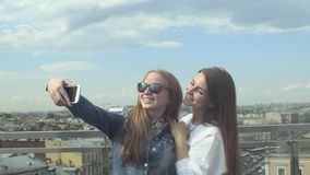Selfie Style Portrait Of Two Teen Girl Friends stock video footage