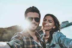 Selfie with sweetheart. Stock Photo