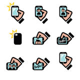 Selfie, taking photos with smartphones for social media icons set. Vector icons set of people taking selfies with mobile or cell phones,  on white Royalty Free Stock Image