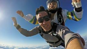 Selfie in tandem di tuffo del cielo immagini stock libere da diritti