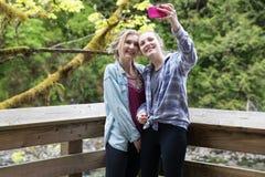Selfie with teenage girls royalty free stock photos