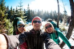 Selfie of three tourists royalty free stock photography