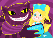 Selfie time. Girl taking selfie with cat. The concept illustration of a cheerful blond girl Alice taking a selfie with a Stock Images
