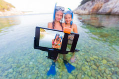 Selfie time before snorkeling Royalty Free Stock Photo