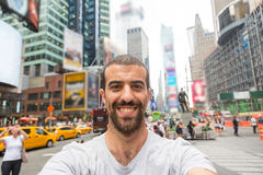 Selfie in Times Square. Young Man Taking Selfie in Times Square Stock Image
