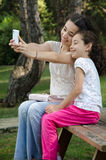 Selfie of to sisters Stock Images