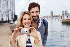 Selfie travel couple Royalty Free Stock Photo