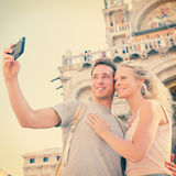 Selfie travel couple in love in Venice, Italy Royalty Free Stock Photo