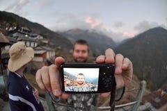 SELFIE! Travelers' Selfie, Nepal, Fisheye Royalty Free Stock Photo