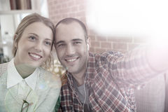 Selfie of two cheerful friends Stock Photography