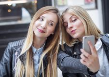 Selfie of a two girl friends Stock Photography