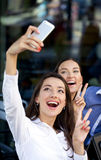 Selfie Two happy girlfriends Royalty Free Stock Photography