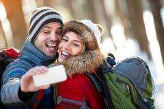Selfie van bergbeklimmerspaar Royalty-vrije Stock Foto