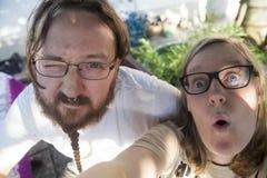 Selfie van een jongen en een meisje stock foto