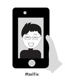 Selfie vector. Man taking a self portrait taking Royalty Free Stock Images