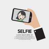 Selfie vid telefonlivsstil med teknologi Fotografering för Bildbyråer
