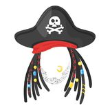 Selfie and video chat filtern. Vector cartoon style funny pirate face element or carnival mask. Decoration item for your selfie photo and video chat filter. Hair Stock Photo