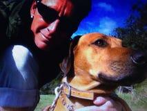 Selfie von mir und von meinem Hund Lizenzfreie Stockfotografie