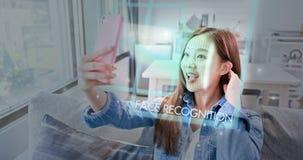 Selfie voor gezichtserkenning stock afbeeldingen