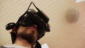Selfie w 3D rzeczywistości wirtualnej szkłach Widok od above, kamera rusza się z głową zbiory