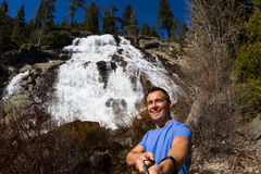 Selfie with a waterfall Stock Images
