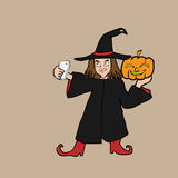Selfie witch Halloween cartoon Stock Image