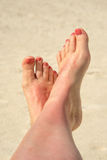 Selfie of woman bare feet crossed Royalty Free Stock Photography