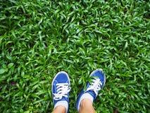 Selfie woman feet wearing blue sneaker on green grass stock photography