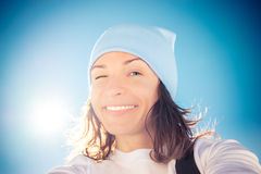 Selfie woman winter Stock Photography