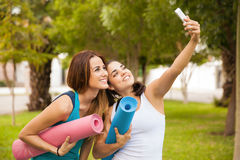 Selfie before yoga practice Royalty Free Stock Photography