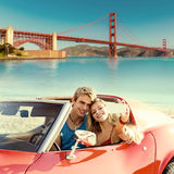Selfie of young couple convertible car Golden Gate Royalty Free Stock Images