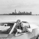 Selfie young couple convertible New York Manhattan Stock Image