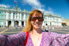 Selfie of a young female tourist in St. Petersburg, Russia Royalty Free Stock Photos
