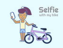 Selfie of young girl with bicycle Stock Images