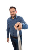 Selfie of a young man with selfie stick Royalty Free Stock Photos