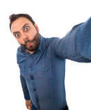 Selfie of a young man with wow expression Stock Images