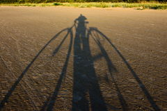 Selfie z bicyklem, zmierzch Zdjęcie Royalty Free