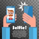 Selfieaffiche met hipster Stock Fotografie