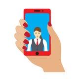 Selfiefoto op smartphone Stock Foto's